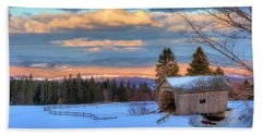 Beach Towel featuring the photograph Foster Covered Bridge - Cabot, Vermont by Joann Vitali