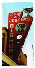 Foster's Bighorn Cafe Beach Towel by Sadie Reneau