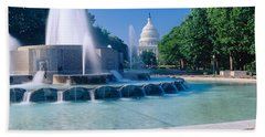 Fountain And Us Capitol Building Beach Towel