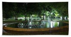 Fountain At Night Beach Sheet