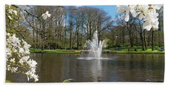 Beach Towel featuring the photograph Fountain In Park by Hans Engbers