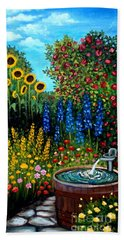 Fountain Of Flowers Beach Towel