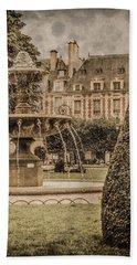 Paris, France - Fountain, Place Des Vosges Beach Towel