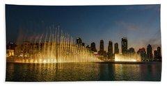 Fountains At Dusk Beach Towel