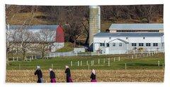 Four Amish Women In Field Beach Towel