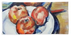 Four Apples And A Knife Cezanne Interpretation Beach Sheet