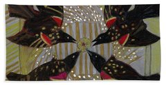 Beach Towel featuring the painting Four Calling Birds by Denise Weaver Ross