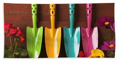 Four Colored Trowels  Beach Towel