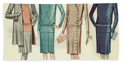 Four Flappers Modelling French Designer Outfits, 1928 Beach Towel