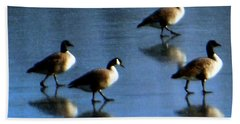Four Geese Walking On Ice Beach Sheet