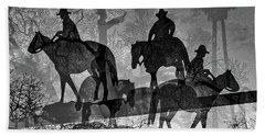 Beach Towel featuring the digital art Four Horsemen Black And White by Visual Artist Frank Bonilla
