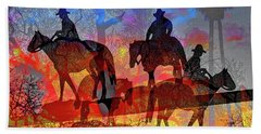 Beach Towel featuring the digital art Four Horsemen by Visual Artist Frank Bonilla