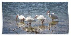 Four Ibises Walking In Water Beach Towel by Carol Groenen