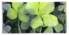 Four Leaf Clover Watercolor Beach Towel