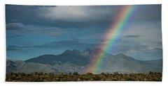 Beach Towel featuring the photograph Four Peaks Rainbow  by Saija Lehtonen