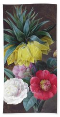 Four Peonies And A Crown Imperial Beach Towel