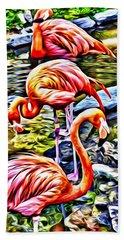 Four Pink Flamingos Beach Sheet