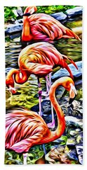 Four Pink Flamingos Beach Towel