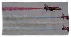 Four Red Arrows Smoke Trail - Teesside Airshow 2016 Beach Towel by Scott Lyons