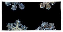 Four Snowflakes On Black 2 Beach Sheet