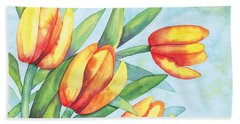 Beach Towel featuring the painting Four Tulips by Kristen Fox