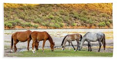 Four Wild Horses Grazing Along Arizona River Beach Towel
