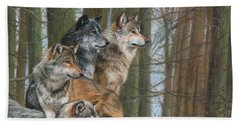 Beach Sheet featuring the painting Four Wolves by David Stribbling