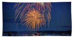 Beach Sheet featuring the photograph Fourth Of July In Boothbay Harbor by Rick Berk