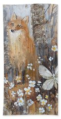 Fox And Butterfly Beach Towel