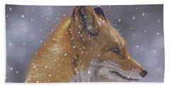 Fox In A Flurry Beach Towel