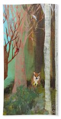Fox In The Forest  Beach Towel