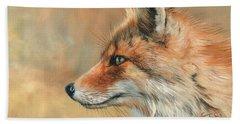 Fox Portrait Beach Sheet by David Stribbling
