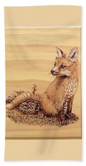 Beach Sheet featuring the pyrography Fox Pup by Ron Haist