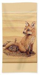 Fox Pup Beach Sheet by Ron Haist