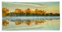 Fox River Above Mchenry Dam At Sunrise Beach Towel