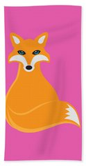 Fox Sitting Illustration Beach Towel