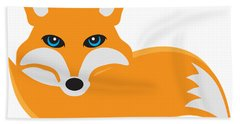 Fox With Tail Illustration Beach Towel