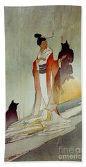 Beach Towel featuring the photograph Fox Woman 1912 by Padre Art