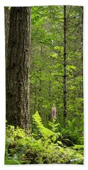 Beach Towel featuring the photograph Foxglove In The Woods by Jean Noren