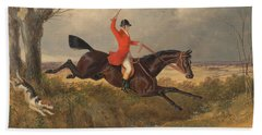 Foxhunting Clearing A Ditch Beach Towel