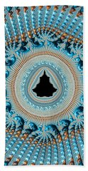 Fractal Art Crochet Style Blue And Gold Beach Towel