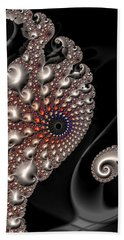 Beach Sheet featuring the digital art Fractal Contact - Silver Copper Black by Matthias Hauser