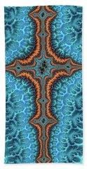 Beach Sheet featuring the digital art Fractal Cross Turquoise And Orange by Matthias Hauser