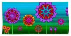 Whimsical Fractal Flower Garden Beach Towel