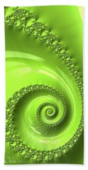 Beach Sheet featuring the digital art Fractal Spiral Greenery Color by Matthias Hauser