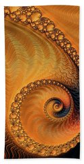 Beach Sheet featuring the digital art Fractal Spiral Orange And Brown by Matthias Hauser