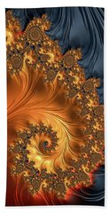 Beach Towel featuring the digital art Fractal Spiral Orange Golden Black by Matthias Hauser