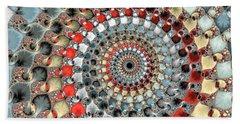 Fractal Spiral Red Grey Light Blue Square Format Beach Sheet