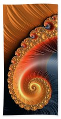Beach Towel featuring the digital art Fractal Spiral With Warm Orange And Red Tones by Matthias Hauser