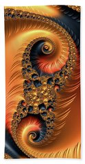 Beach Towel featuring the digital art Fractal Spirals With Warm Colors Orange Coral by Matthias Hauser
